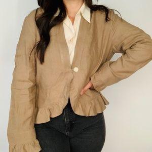 J. Jill Single Button Ruffle Jacket Brown Linen